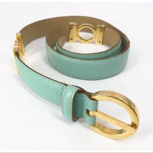 •Salvatore Ferragamo• Leather Mint Belt Gold 30 In